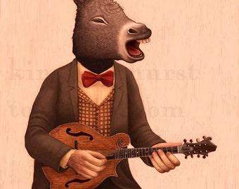 Mandolin Donkey Musician - signed print