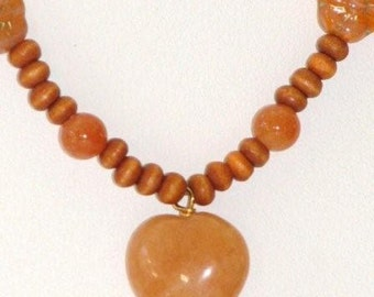 Red aventurine puffed heart necklace