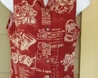 Vintage Harley Davidson Tori Richard Officially Licensed Sleeveless Logo Motorcycle Drawings Specs Shirt Top Blouse Size Small