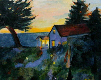 Cottage Painting / Original Oil Painting Print / Cottage on the Sea at Dusk