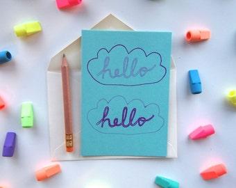 Card: Hello Hello Clouds (purple and aqua)