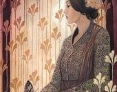 Madame Butterfly- Art Deco Goddess 5x7 Blank Greeting Card