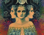 Moon Goddess of Mystery Psychedelic Tarot Art 5x7 Card