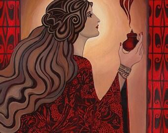 Circe Art Nouveau Pagan Witch Goddess - 5x7 Greeting Card
