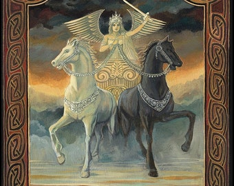 The Chariot Tarot Art 11x14 Fine Art Print Pagan Celtic Mythology Horse Symbolism Goddess Art