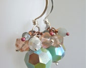 Earrings - sterling silver, vintage Swarovski crystal, calcite, vintage glass, moss aquamarine, rosy copper - Cucumber Sorbet