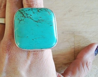 mod square-ish turquoise farrah statement ring, made to your size
