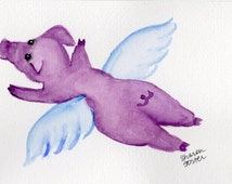 Flying Purple Pig Watercolor Painting, PIG Art,  Illustration, small whimsical pig art, 4 x 6 pigs with wings watercolors paintings original