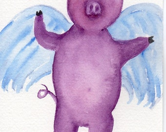 Purple Flying Pig watercolors paintings original,  flying pig art, when pigs fly, pigs with wings,  flying purple pig, funny animal art