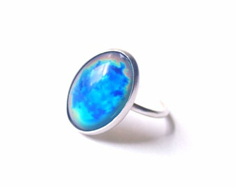 Mood Ring with Vintage Stone, Sterling Silver