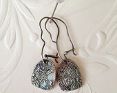 Reserved for Roxanne - Silver Lace Paillette earrings - MEDIUM