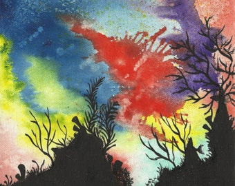Coral Reef I - 8 x 8 Original Watercolor Painting on Canvas Board