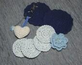 Women's Gift Set Blue Coasters Face Scrubbies Flower Pin Key Ring/Bag Charm