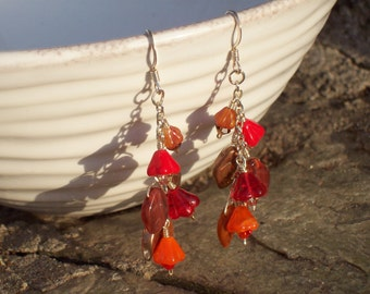 Flame- Flower and Leaf Earrings