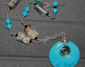 Turquoise Howlite Wire Wrapped Pendant on Beaded Chain