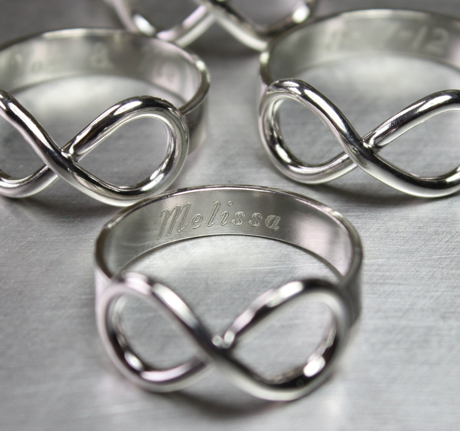 sterling silver infinity ring personalized in shiny finish. Black Bedroom Furniture Sets. Home Design Ideas