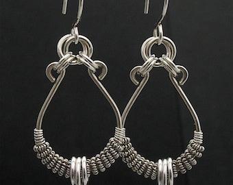 Silver Wire Wrapped Earrings, Artisan Silver Jewelry, Wired Earrings, Silver Wire Wrapped Jewelry, Artisan Earrings