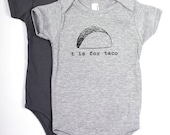 T is for Taco Baby One-Piece Bodysuit (Heather Gray)