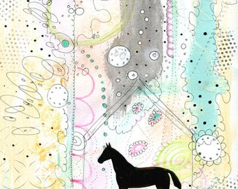 Horse Painting , Acrylic Animal Painting , Collage Mixed Media Art Print , Horse Decor , Pastel Colors