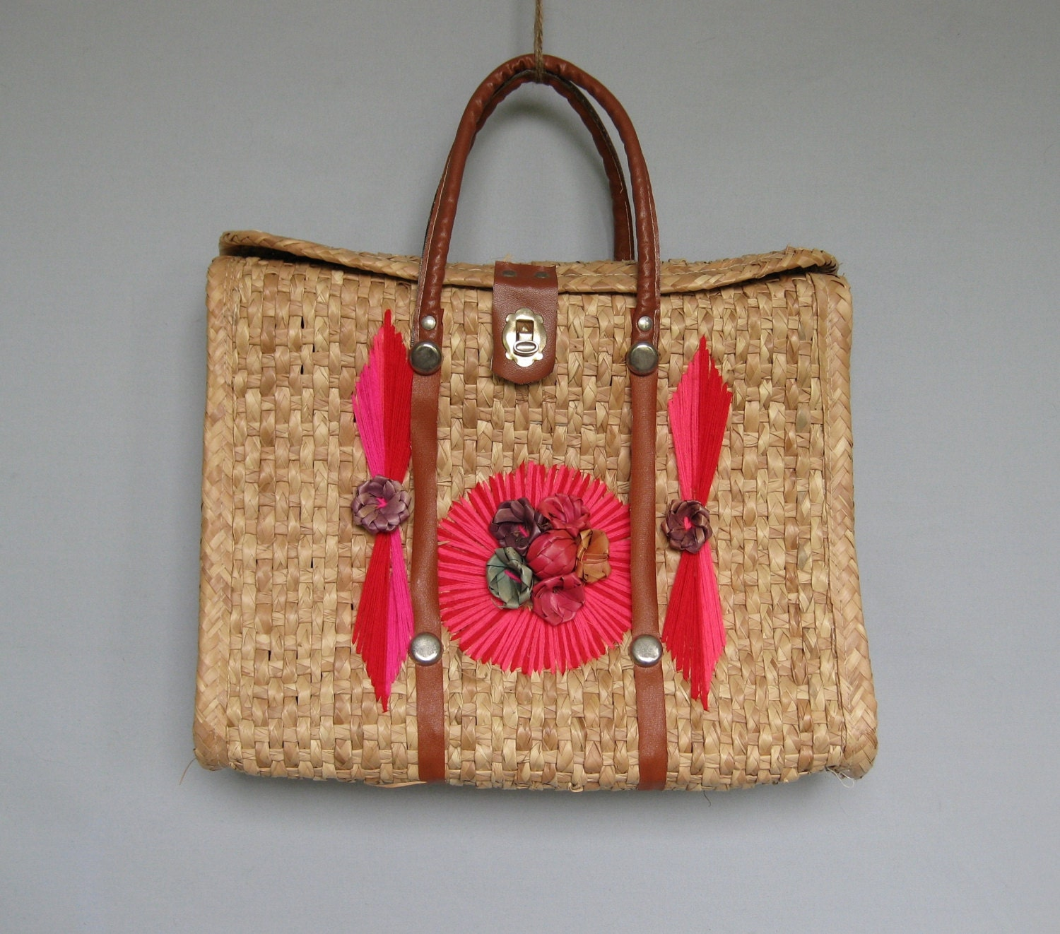80s vintage mexican straw tote bag souvenir by recycledlovers