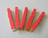Decorative Clothespins Wood Red Gingham Full Size Set of 5 Magnet Option