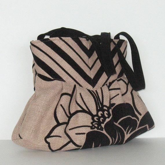 Floral purse , Non leather handbag , Vegan casual handmade bag in khaki and black , Fabric purse , day bag , office bag , casual bag