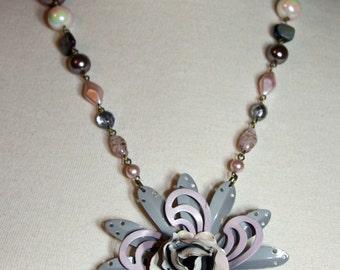 Vintage Lavender, Gray, Lilac Enamel Flower Necklace.  OOAK