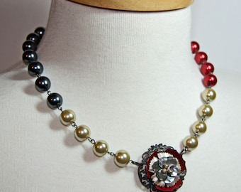 Statement Necklace.  Colorblock Neo Victorian.  Cream, Gray, Red Glass Beads. OOAK Necklace