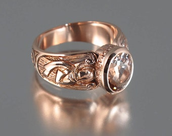 GUARDIAN ANGELS 14k rose gold ring with Morganite