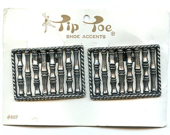 Vintage FAUX BAMBOO Tiki Antiqued Silver Metal Shoe Clips 1970s Retro Large  new old stock.
