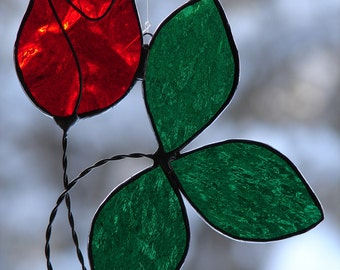Stained Glass Red Rosebud