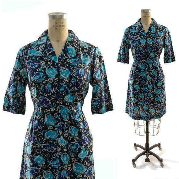 1950s Linen Shirt Dress with Abstract Floral Print / Vintage Handmdae Day Dress / One of a Kind