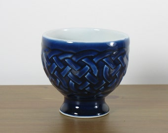 Cobalt Blue Celtic Knotwork Stemmed Dessert Cup / Chalice
