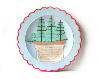 Retro Father's Day Plate, Nautical Display, Ceramic Sailboat Wall Plaque