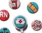 Nurse badge holder - Interchangeable badge reel or ID lanyard with 6 magnets, nursing student, RN LPN nurse gift, nurse badge reel
