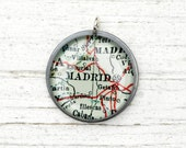 Madrid Spain - Vintage Map Pendant in Handmade Sterling Setting