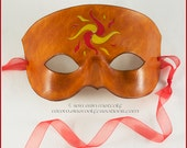 Sun flames handmade leather mask Mardi Gras masquerade costume Halloween