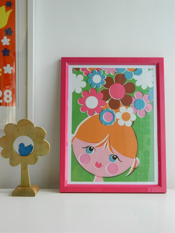 Retro A3 Poster by alice apple - Flower Head
