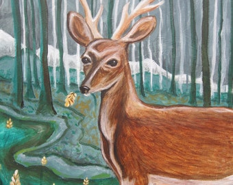 Smoke Signal, buck deer antlers, woodland forest rustic mountains, 24 x 36 acrylic on canvas original painting