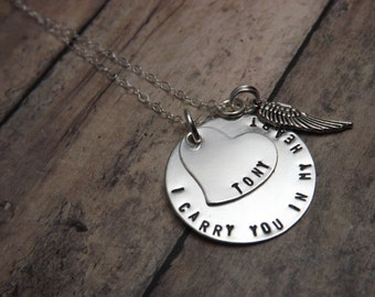 Handstamped jewelry-personalized jewelry- Remembrance necklace-I carry you in my heart-angel wing