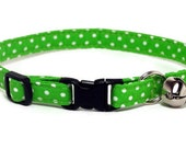 Cat Collar - Lime with Polka Dots - Breakaway Safety Cute Fancy Cat Kitten Collar