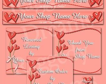Etsy Banner Set - Premade Etsy Banner - Etsy Shop Banner - SHOP ICON - Shop Profile Photo - Pink Hearts Bouquet