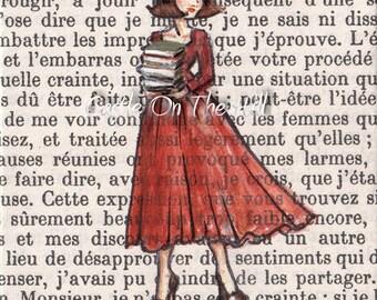 Book Lover - Paris, 1962 - Armfuls of Books - 8 x 10 print