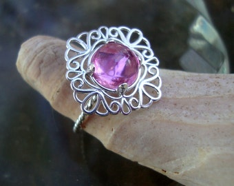 Ring Pink Sapphire 8mm in filigree eco-friendly  sterling silver  and lab stone - Custom Made in your Size