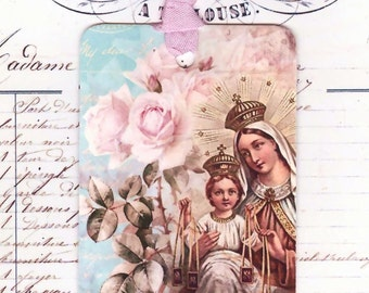 French Religious Gift Tags - Pink Roses - Vintage Madonna by Bluebird Lane