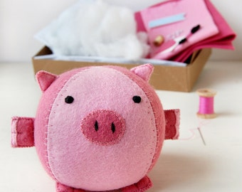 Piglet Craft Kit - Make Your Own - Children's Sewing Kit - Creative Activity Kit - Pig Toy - Baby Animal Toy - Pig Lover