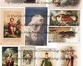 Digital collage sheet vintage prayer cards instant download