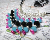 black blue and pink choker beaded fringe handmade artisan charm necklace ooak