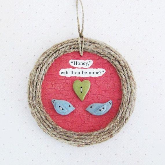 Nesting Love Birds- Handmade Onament-  Valentine's Day, Wedding Shower, Anniversary Gift
