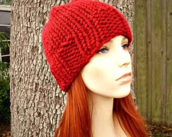 Cranberry Red Knit Hat Red Mens Hat Red Womens Hat - Ribbed Brim Skullcap - Red Hat Red Beanie Womens Accessories Winter Hat